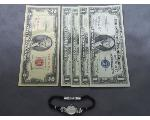 Lot: 1166 - $2 RED SEAL, $1 SILVER CERTS. & 14K LADIES WATCH