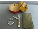 Lot: 1169 - KNIFE, LEATHER CONTAINERS & POCKET WATCH