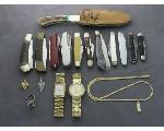 Lot: 7944 - RING, CHARM, PIN, KNIVES, WATCHES & 14K PENDANT