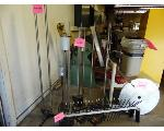 Lot: 63.UV - SCIENCE LAB ITEMS:  GLASS TUBING, CART, CHAIR, TRASH CANS