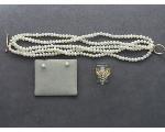 Lot: 7963 - PEARL BRACELET & EARRINGS & 14K RING