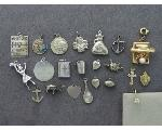 Lot: 8010 - CHARMS, 14K CHARMS & 14K EARRING