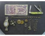 Lot: 8031 - LOCKETS, BROOCH, KNIFE, WATCH & 14K RING