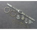 Lot: 8033 - RINGS, WATCH, EARRINGS, BRACELET & PLATINUM RING