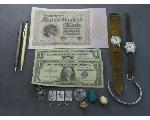 Lot: 1257 - WATCHES, EARRINGS, $1 BILL & STERLING RING