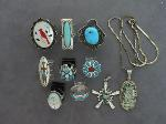 Lot: 1352 - PENDANT, SILVER RINGS & PENDANT