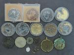 Lot: 8246 - MARDI GRAS TOKENS, PENDANTS & 14K SINGLE EARRING