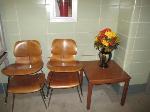 Lot: 33.SPE - TABLE, (4) CHAIRS, FAUX FLORAL ARRANGEMENT & VASE.