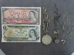 Lot: 322 - NECKLACES, FOREIGN CURRENCY & 14K NECKLACE