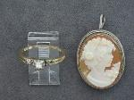 Lot: 8267 - BROACH & 14K RING