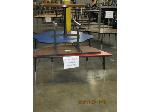 Lot: 716 - TRAPEZOID, SMALL HALF TABLE AND (2) ROUND TABLES