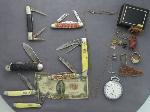 Lot: 1462A - KNIVES, U.S. $2 BILL, POCKET WATCH, STERLING TIE PIN