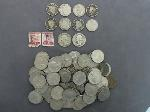 Lot: 1487 - QUARTERS, NICKELS & STAMPS