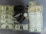 Lot: 1512 - POCKET WATCH, U.S. & FOREIGN CURRENCY & KNIVES