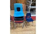 Lot: 76&77 - (7) Student Chairs & (9) Metal Shelving Units