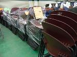 Lot: 72.UV - (67) VIRCO MAROON STACKABLE PLASTIC CHAIRS. BLACK METAL BASE. GOOD CONDITION.