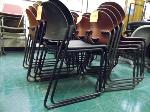 Lot: 80.UV - (24) VIRCO MAROON PLASTIC STACKABLE CHAIRS, (2) HON BLACK STACKABLE CHAIRS