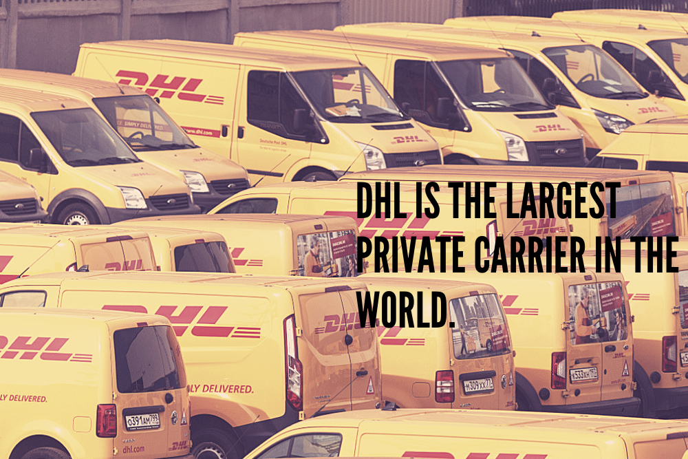 DHL vans parked in a yard
