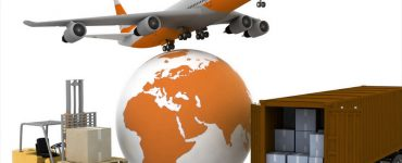 A globe, a plane, a truck, and a warehouse stacker in the same frame to signify international shipping