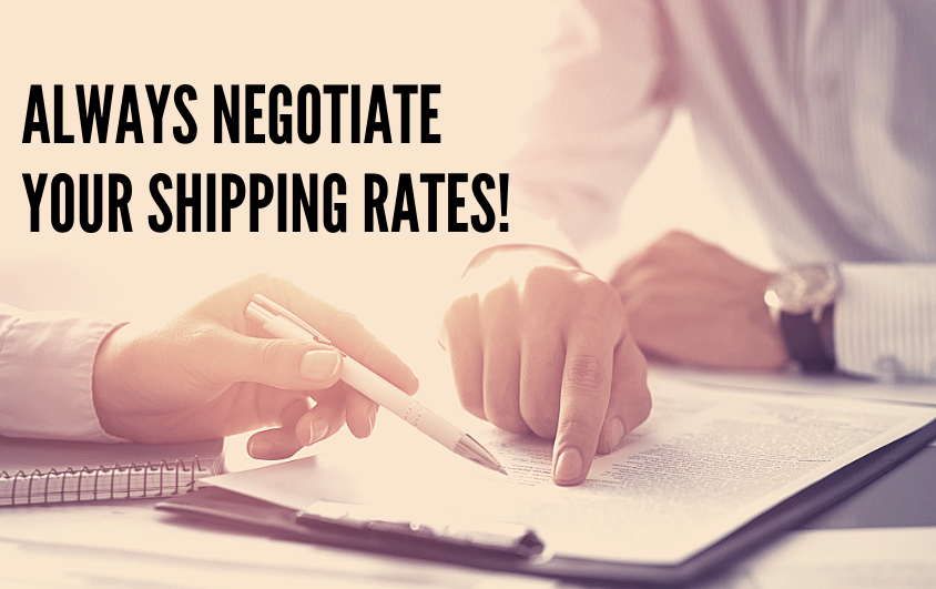 "Two people negotiating a shipping contract. The text on the screen reads ""Always negotiate your shipping rates!"""
