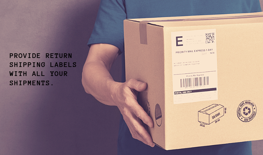 A person holding a parcel with a shipping label on it.