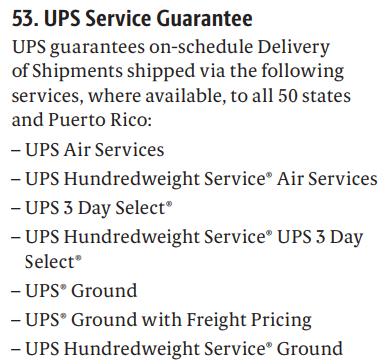 UPS Service Guarantee