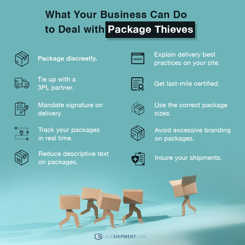 Infographic listing ways businesses can deal with package theft