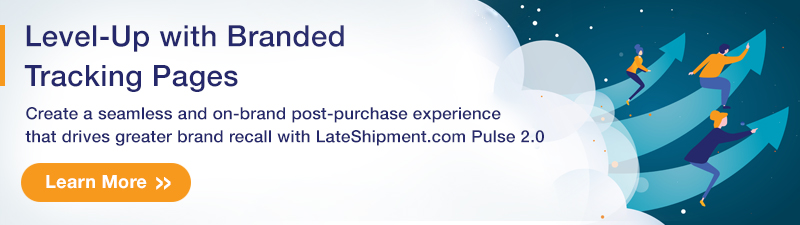An ad for the branded tracking page feature of LateShipment.com Pulse 2.0