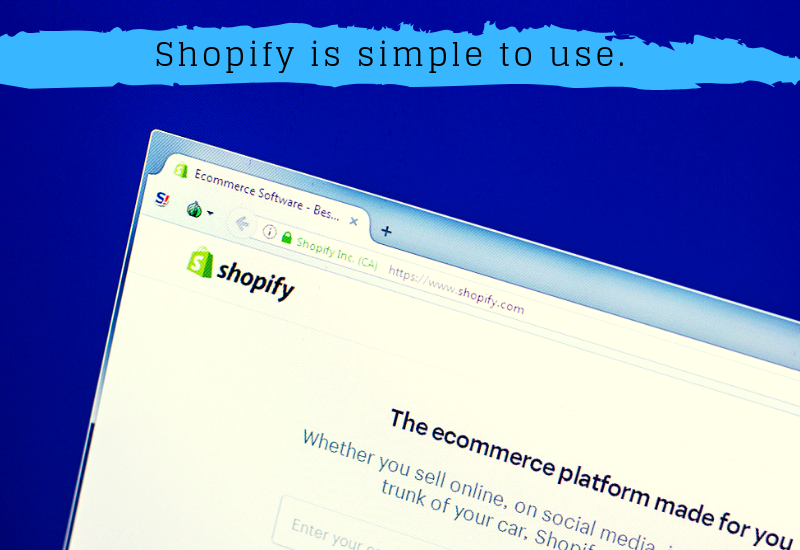 A screenshot of the Shopify home page