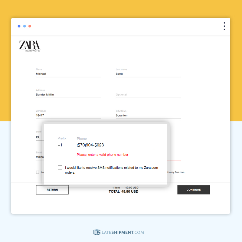 Zara showing visual error indicator while filling forms