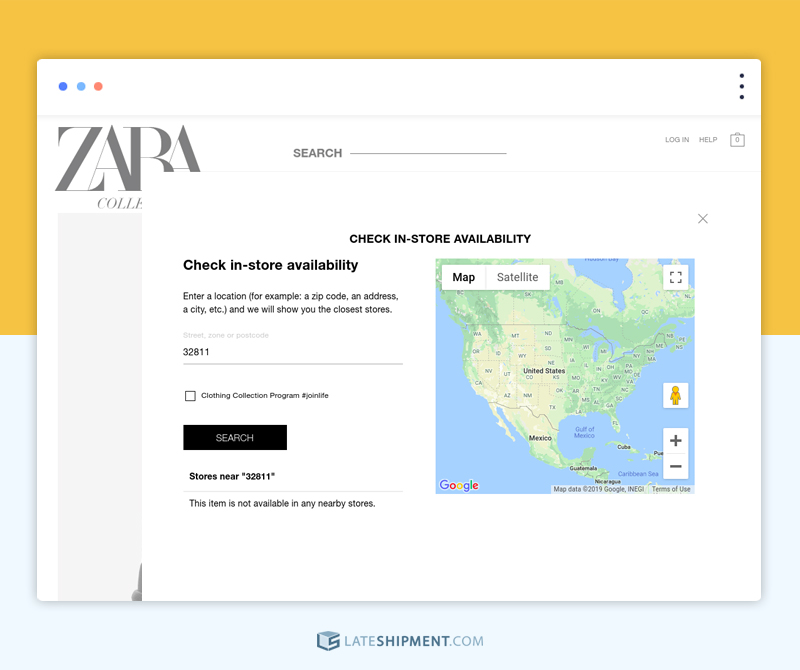 Zara showing availability of a product in nearby stores by just getting the zip code from the user
