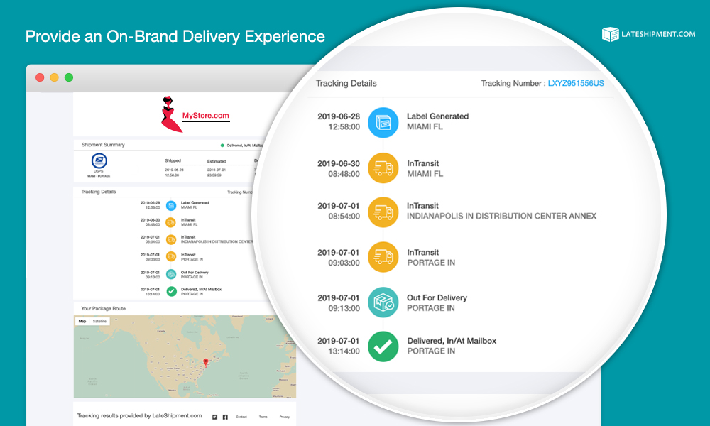 LateShipment.com allows you set up a branded tracking page