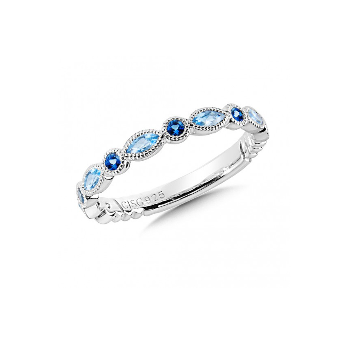 912d5a627f430 Sterling Silver Blue Topaz and London Blue Topaz Stacking Band
