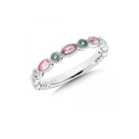 Sterling Silver Pink & Green Tourmaline Stacking Band