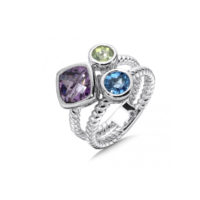 Purple Amethyst, Peridot, and Blue Topaz Stack Ring in Sterling Silver