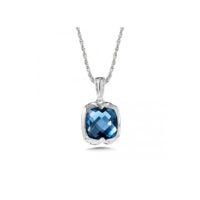 London Blue Topaz Pendant in Sterling Silver