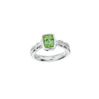 A beautiful Sterling Silver 8x6 mm Faceted Peridot Ring.