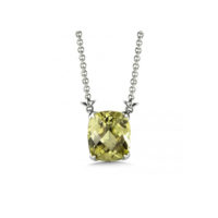 Sterling Silver Green Gold Quartz Pendant