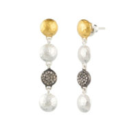 Gurhan Lentil Collection 24K Gold and Silver Long Ice Earring with Diamond