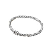 Fope 18K White Gold Flex‰'it Solo Bracelet with Pave Diamond Set