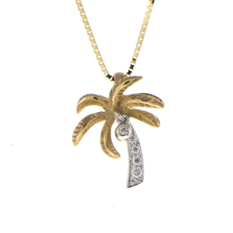 14k Yellow Gold Palm Tree Pendant