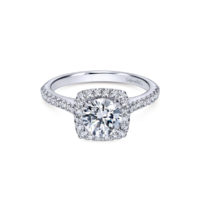 Gabriel 14k White Gold Round Lyla Halo Engagement Ring