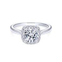 Gabriel 14k White Gold Round Cypress Halo Engagement Ring