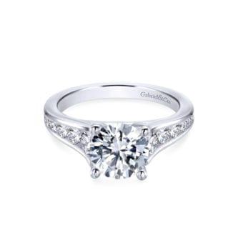 Gabriel 14k White Gold Round Aubrey Straight Engagement Ring