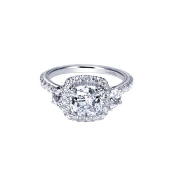 Gabriel 14k White Gold Contemporary Engagement Ring