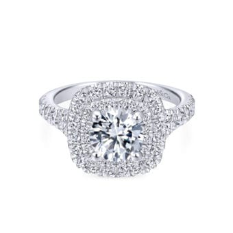 Gabriel 14k White Gold Round Double Halo Sequoia Engagement Ring