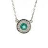 14k white gold diamond 0.25 ctw with Emerald Pendant Necklace