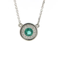 14k white gold diamond 0.25 ctw with Emerald Pendant Necklace