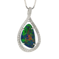 14k WG Australian Opal Doublet Crossover Bail Pendant with Diamonds