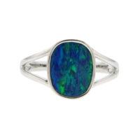 14KWG Opal Doublet Split Shank Ring,